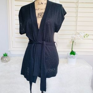 Limited knit short sleeve wrap tie waist cardigan